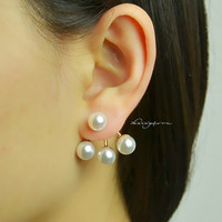 Pearl Ear Jacket , Earring Jacket - Christmas Gift ,Gift for her