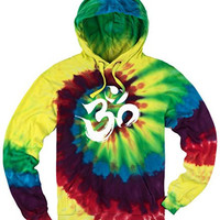 Yoga Clothing for You Mens Tie Dye Brushstroke AUM Hoodie