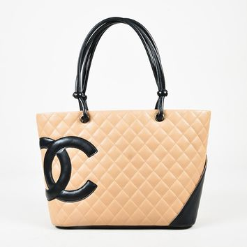 "Chanel Beige Black Quilted Calfskin Leather ""Ligne Cambon"" Tote Bag"