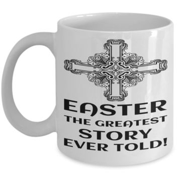 Motivational Spirituality Catholic Cross Mugs Coffee Mug Christianity Coffee Cup Religious Art Print Artsy Jesus Christ Decorative Pencil Holder White Ceramic 11 oz pba Free Dishwaher Safe 2017 2018 Mug Greatest Easter Story Ever Told
