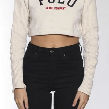 Vintage Polo Crop Knit Sweater