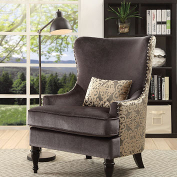 Furniture of america CM6146 Sandra dark gray flannelette fabric wind chair with wood legs