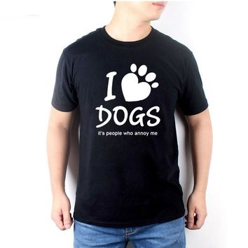 I Love Dogs It's People Who Annoy Me Dog Paw Funny T-Shirts