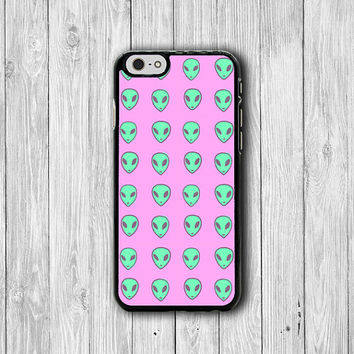 iPhone 6 Case - Mint UFO Alien With Pink Background Phone Cases, Space Hipster iPhone 5, 5S, iPhone 4, 4S Cover, Personalized Custom Gift