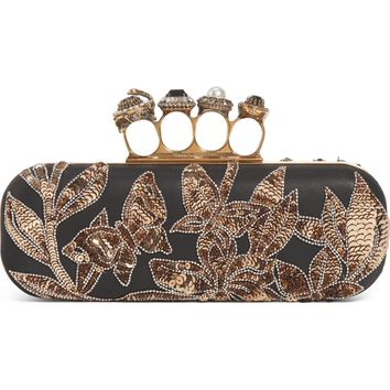 Alexander McQueen Crystal Embellished Leather Knuckle Clutch | Nordstrom