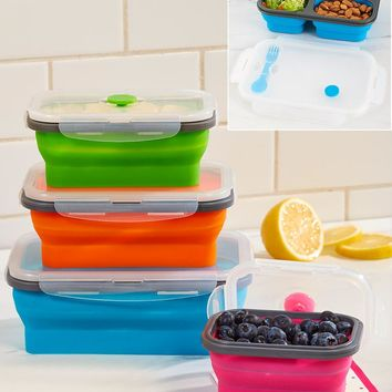 Collapsible Food Storage set or Lunch Container Locking Lid w/Seals Vented