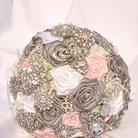 6 inch Wedding Brooch Bouquet with Pink, Grey and White Satin  Roses