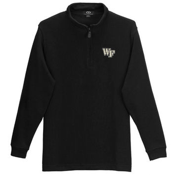 Wake Forest Demon Deacons Flat Back Rib-Knit 1/4 Zip Sweater – Black