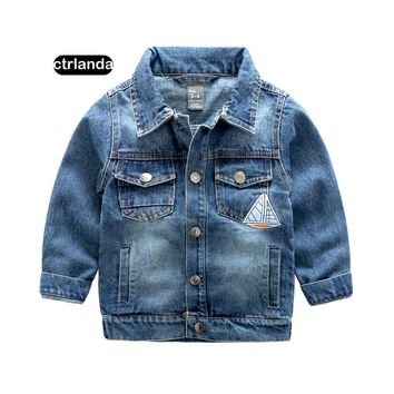 children boys denim jacket coat kids 100% cotton jeans outerwear 3-9y children clothing tops jackets baby girl casual warm coats