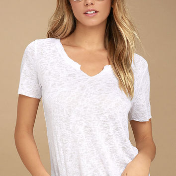 Project Social T Suzie Shirttail White Tee