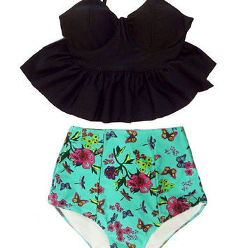 Black Strap Long Peplum Silhouette Top and Mint Graphci High waisted waist Swimsuit Swimwear Bathing suit Swimsuite Bikini set sets S M L XL
