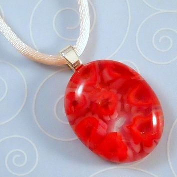 Red and White Christmas Tree Necklace, Fused Glass Jewelry