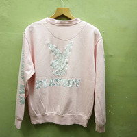 Vintage Playboy Sweatshirt Big Logo Left And Right Big Spell Out Crewneck Pullover Sweater Streetwear Pink Color Size M
