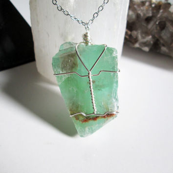 Wire Wrapped Green Calcite Raw Crystal Pendant Necklace, crystal healing jewelry, vegan