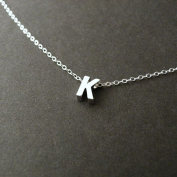 Uppercase Initial Necklace, Sterling Silver, Silver Initial, Custom Pendant, Personalized Necklace, Monogram Necklace
