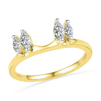 14kt Yellow Gold Women's Oval Diamond Ring Guard Wrap Solitaire Enhancer 1/2 Cttw - FREE Shipping (US/CAN)