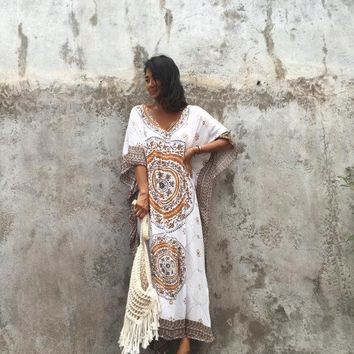Ailunsnika Plus Size Women Summer African Ethnic Print Kaftan Maxi Dress 2018 Summer Loose Vintage Boho Beach Long Dress MX352