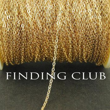 New factory price 10 Meters 2mm KC Gold Brass Flat Cable Chain DIY Necklace Jewelry Findings in Bulk