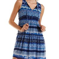 Navy Combo Sleeveless Tiered Ruffle Chiffon Dress by Charlotte Russe