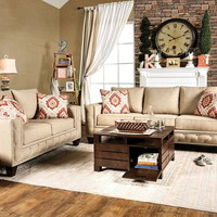 SM6306 2 pc norwick collection beige fabric upholstered sofa and love seat set with nail head trim