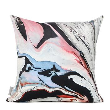 """Red Black Abstract Oil Painting Digital Printing Flannel Pillow 18""""X18"""""""