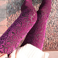 New Autumn Women Lace Leggings Hollow Carved Peach Heart Gold Velvet Jeggings Sexy High Elastic Through Skin Legging