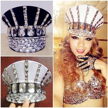 Women's Rhinestone Military Hat (6 Colors)