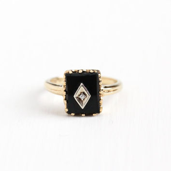 Vintage 10k Rosy Yellow Gold Black Onyx & Diamond Ring - Retro 1950s 1960s Mid Century Size 6 1/2 Black Gemstone Dason Fine Jewelry