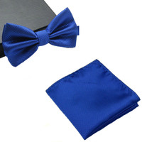 Mens Matching Royal Blue Bow Tie and Handkerchief Gift Set