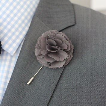 Gray cotton Carnation flover, cotton, Linen Flower pin, mens boutonniere, mens lapel pin,