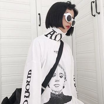 Japanese Funny Character Graphic Oversize Turtleneck Pullovers Hoodie Sweatshirt Women Autumn 2018 Harajuku Loose Sweatshirts