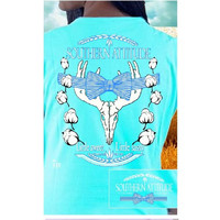 Country Life Outfitters Blue Southern Attitude Cotton Deer Skull Bow Hunt Vintage Bright T Shirt