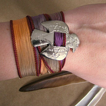 Ribbon Wrap Bracelet with Thunderbird Charm | Boho Accessories