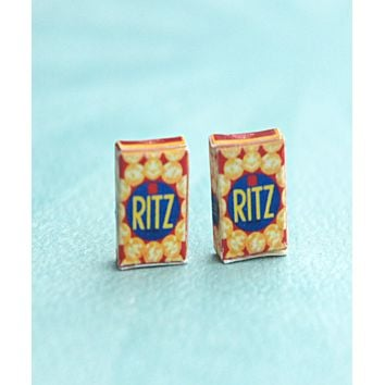 Ritz Crackers Box Stud Earrings