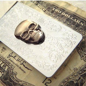 Skull Money Clip Gothic Victorian Men's Money by CosmicFirefly