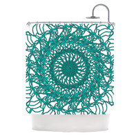 "Patternmuse ""Mandala Spin Jade"" Green Shower Curtain"