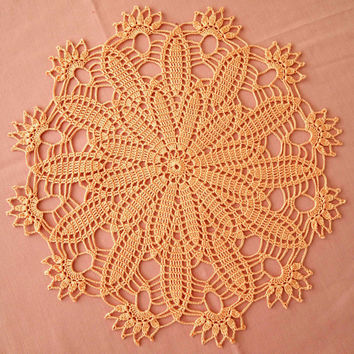 READY TO SHIP worldwide; Sunny peach crochet doily; Crochet doily; Crochet tablecloth; Verlen Crochet; Croceted tablecloth