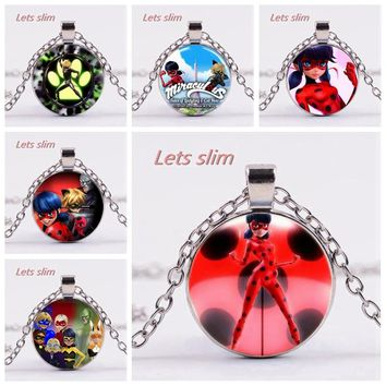 LETS SLIM New Miraculous Ladybug Necklace Adrien Marinette Figure Toys Pendant Lady Bug Cat Noir Juguetes Christmas Gift Oyuncak