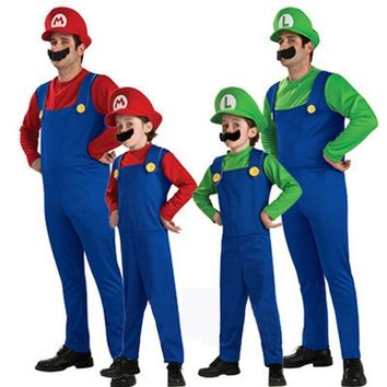 Cool BAZZERY Halloween Costumes Funny Super Mario Luigi Brother Costume Kids Children / Adult Fantasia Cosplay Jumpsuit Hat SetAT_93_12