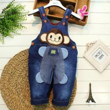 New Arrival Classic spring autumn children's overalls infant soft denim bib pants baby boy girl jeans casual trousers 0-2Y