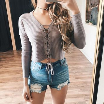 long sleeves v neck solid color hollow crisscross strappy short t shirt sweater