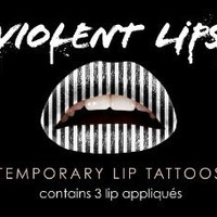 Violent Lips - The Black & White Stripes - Set of 3 Temporary Lip Appliques