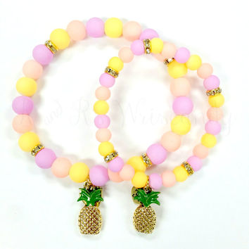 Pastel Pineaaple Mommy and Me Beaded Bracelets, Mother Daughter Bracelet Set, Stretch Bracelets, Mother-Daughter, Charm Bracelets, Handmade