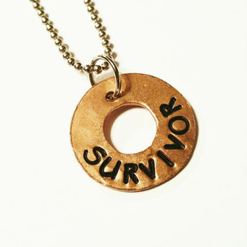SURVIVOR - COPPER CHARM, Hammered Washer Charm, Hand Stamped, Rustic, Organic, Can be Customized