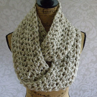Ready To Ship Infinity Scarf Crochet Knit Aspen Ivory Tweed Women's Accessories Eternity Fall Winter