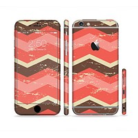 The Coral & Brown Wide Chevron Pattern Vintage V1 Sectioned Skin Series for the Apple iPhone6s Plus