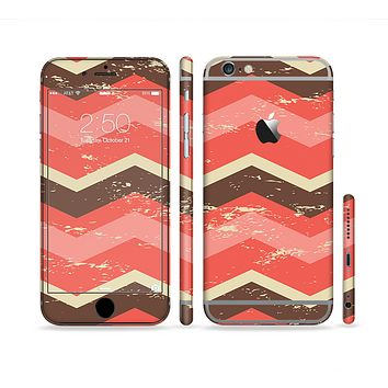 The Coral & Brown Wide Chevron Pattern Vintage V1 Sectioned Skin Series for the Apple iPhone 6s Plus