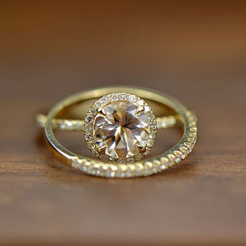 Two Rings Set! 7mm VS Halo  Morganite Ring 14K Yellow Gold SI/H Diamonds engagement ring match band, Promise Ring