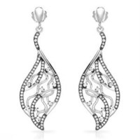 Ladies Earrings Designed In 925 Two Tone Sterling Silver - The Silver Shop - Modnique.com