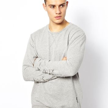 Religion Sweatshirt with Ripped Sleeves
